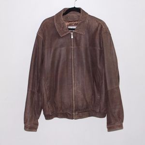 Wilsons Leather Men's Brown Suede Bomber Jacket
